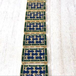 🆕sterling/enamel/18K gold finish bracelet, 68.7g